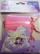 10 x Pink Wedding Favour Organza Bags. 100mm x 75mm.